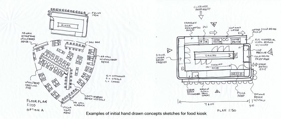 Preliminary design concept hand drawn sketches