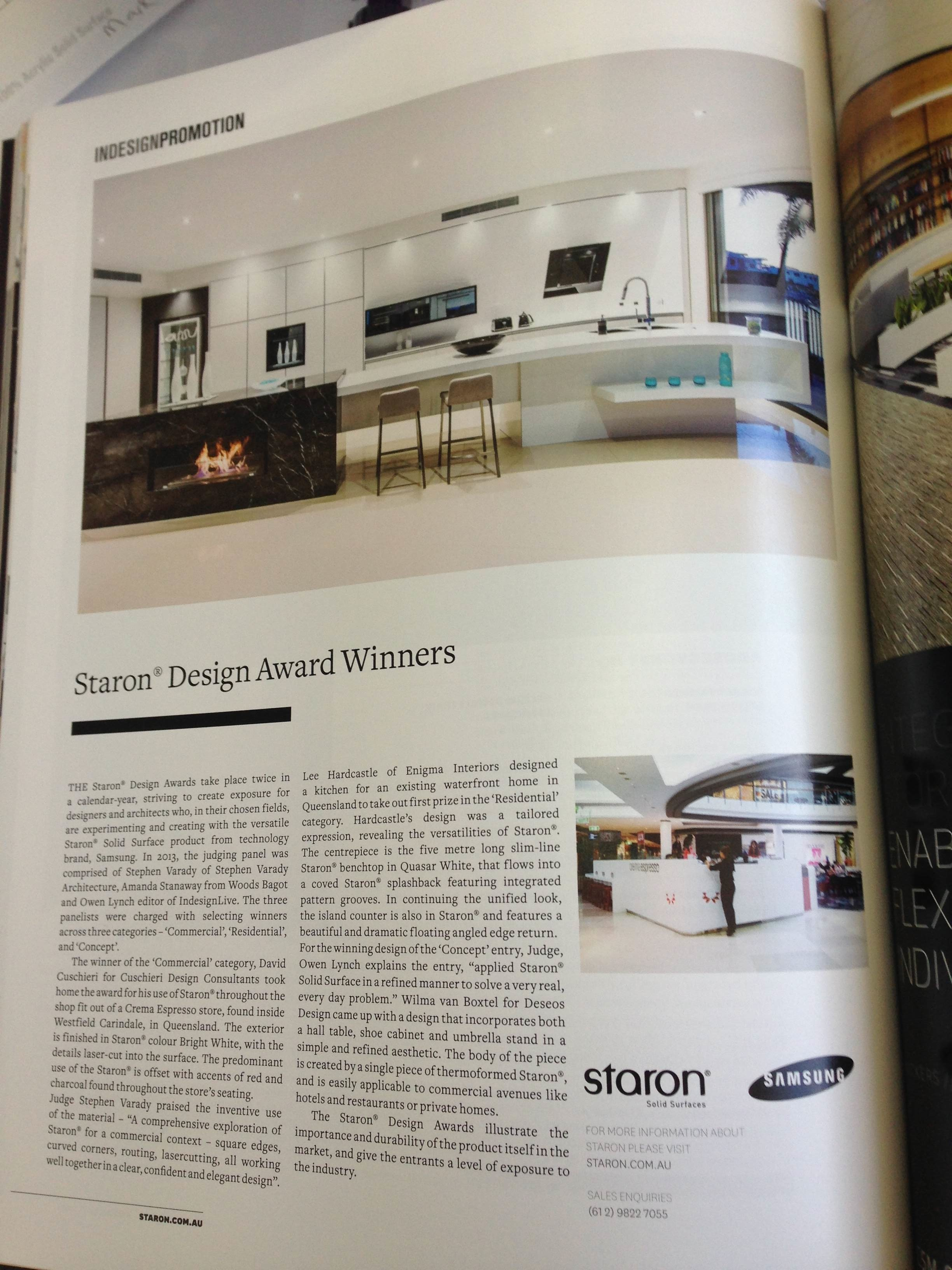 Cuschieri Design Staron Awards 2013 Commercial category Crema Espresso Carindale
